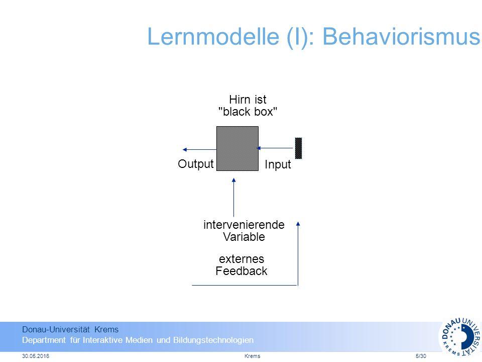 Donau-Universität Krems Department für Interaktive Medien und Bildungstechnologien 30.05.2016Krems16 LMS + CMS = LCMS Lernmanagement System (LMS) Contentmanagement System (CMS) Lern- und Contentmanagement System (LCMS)