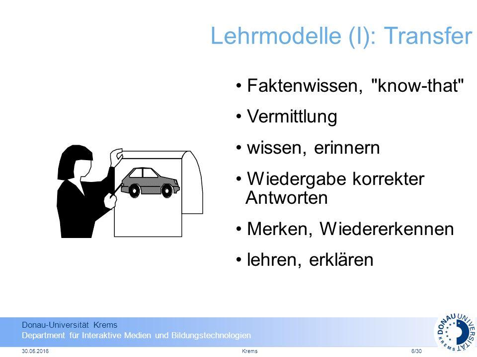 Donau-Universität Krems Department für Interaktive Medien und Bildungstechnologien 30.05.2016Krems6/30 Lehrmodelle (I): Transfer Faktenwissen, know-that Vermittlung wissen, erinnern Wiedergabe korrekter Antworten Merken, Wiedererkennen lehren, erklären