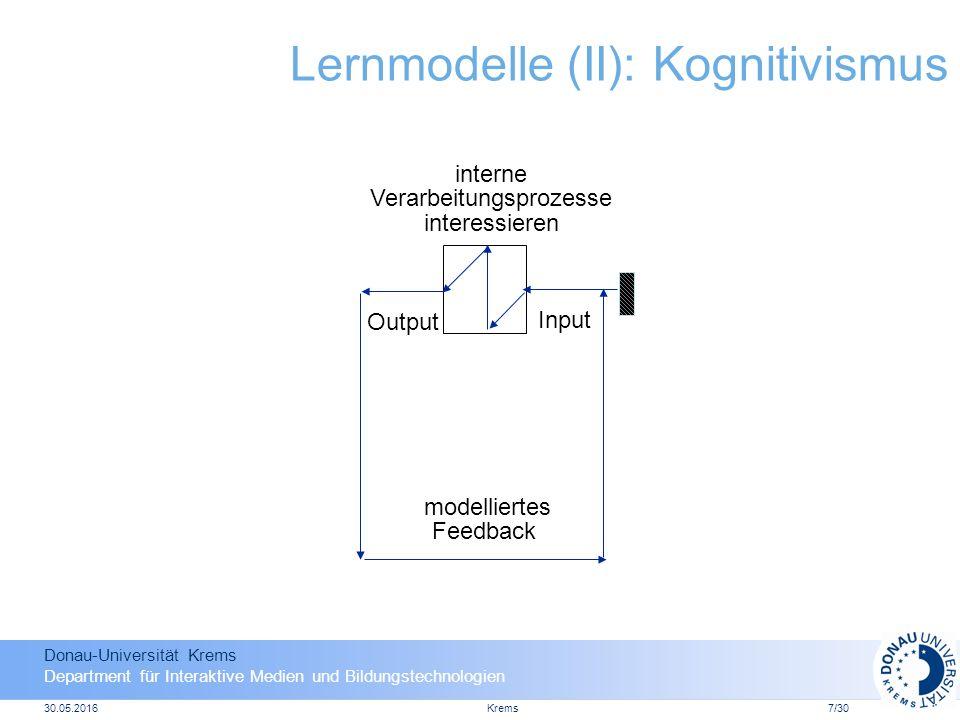 Donau-Universität Krems Department für Interaktive Medien und Bildungstechnologien 30.05.2016Krems7/30 Lernmodelle (II): Kognitivismus Input Output interne Verarbeitungsprozesse interessieren modelliertes Feedback