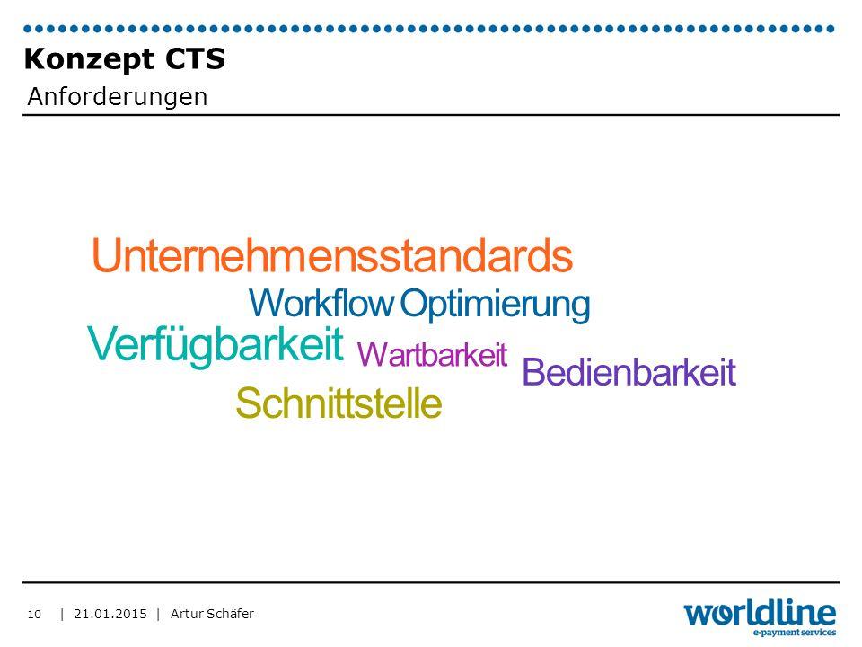 | 21.01.2015 | Artur Schäfer Konzept CTS 10 Unternehmensstandards Workflow Optimierung Verfügbarkeit Wartbarkeit Bedienbarkeit Schnittstelle Anforderungen