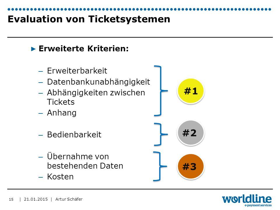 | 21.01.2015 | Artur Schäfer Evaluation von Ticketsystemen ▶ Erweiterte Kriterien: – Erweiterbarkeit – Datenbankunabhängigkeit – Abhängigkeiten zwischen Tickets – Anhang – Bedienbarkeit – Übernahme von bestehenden Daten – Kosten 15 #1 #2#3