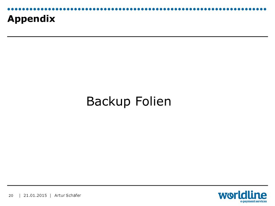 | | Artur Schäfer Appendix Backup Folien 20