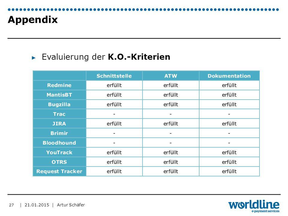 | 21.01.2015 | Artur Schäfer Appendix ▶ Evaluierung der K.O.-Kriterien 27