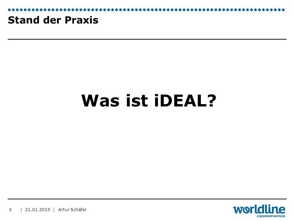   21.01.2015   Artur Schäfer 6 Stand der Praxis ▶ 60% aller Onlinezahlungen über iDEAL abgewickelt ▶ 90% der Banken bieten iDEAL an ▶ Ca.
