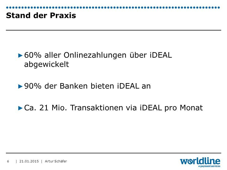 | 21.01.2015 | Artur Schäfer 6 Stand der Praxis ▶ 60% aller Onlinezahlungen über iDEAL abgewickelt ▶ 90% der Banken bieten iDEAL an ▶ Ca. 21 Mio. Tran