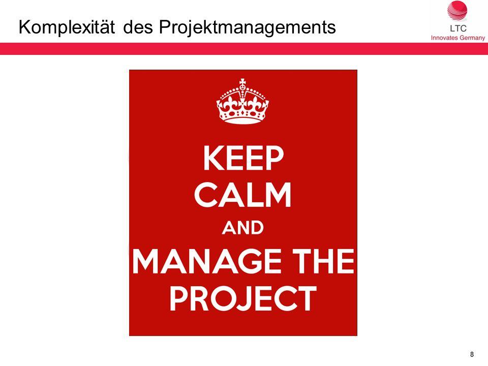 Komplexität des Projektmanagements 8 PM Leistungs -nehmer FachabteilungMarketing Fremd- sprachen dienst Übersetzungs- dienstleister Länder- organisationen