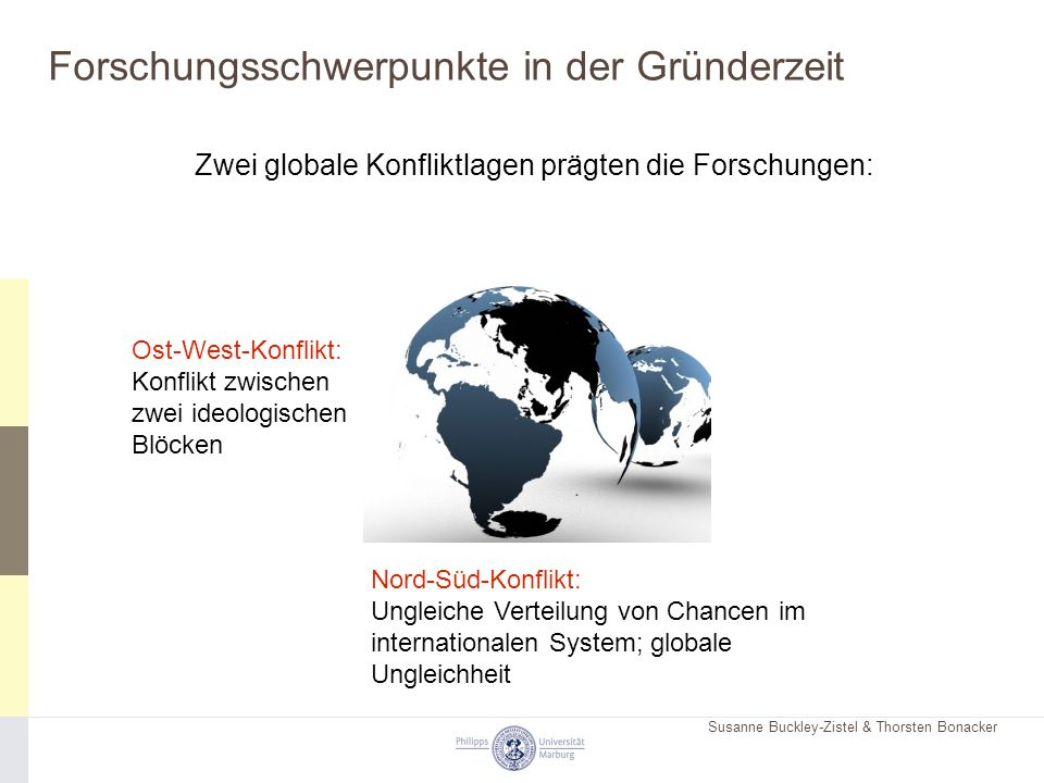 Susanne Buckley-Zistel & Thorsten Bonacker Forschungsschwerpunkte in der Gründerzeit Zwei globale Konfliktlagen prägten die Forschungen: Nord-Süd-Konf