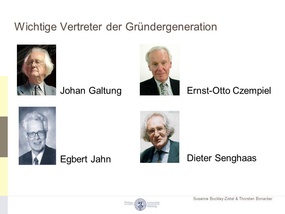 Susanne Buckley-Zistel & Thorsten Bonacker Wichtige Vertreter der Gründergeneration Johan Galtung Egbert Jahn Ernst-Otto Czempiel Dieter Senghaas
