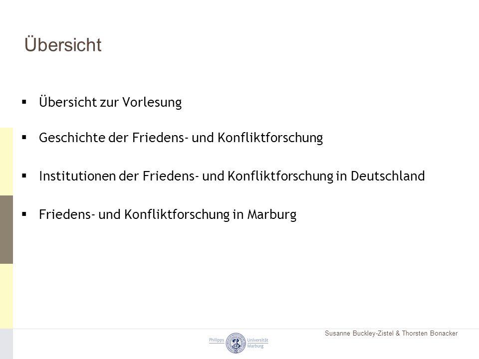 Susanne Buckley-Zistel & Thorsten Bonacker Übersicht  Übersicht zur Vorlesung  Geschichte der Friedens- und Konfliktforschung  Institutionen der Fr