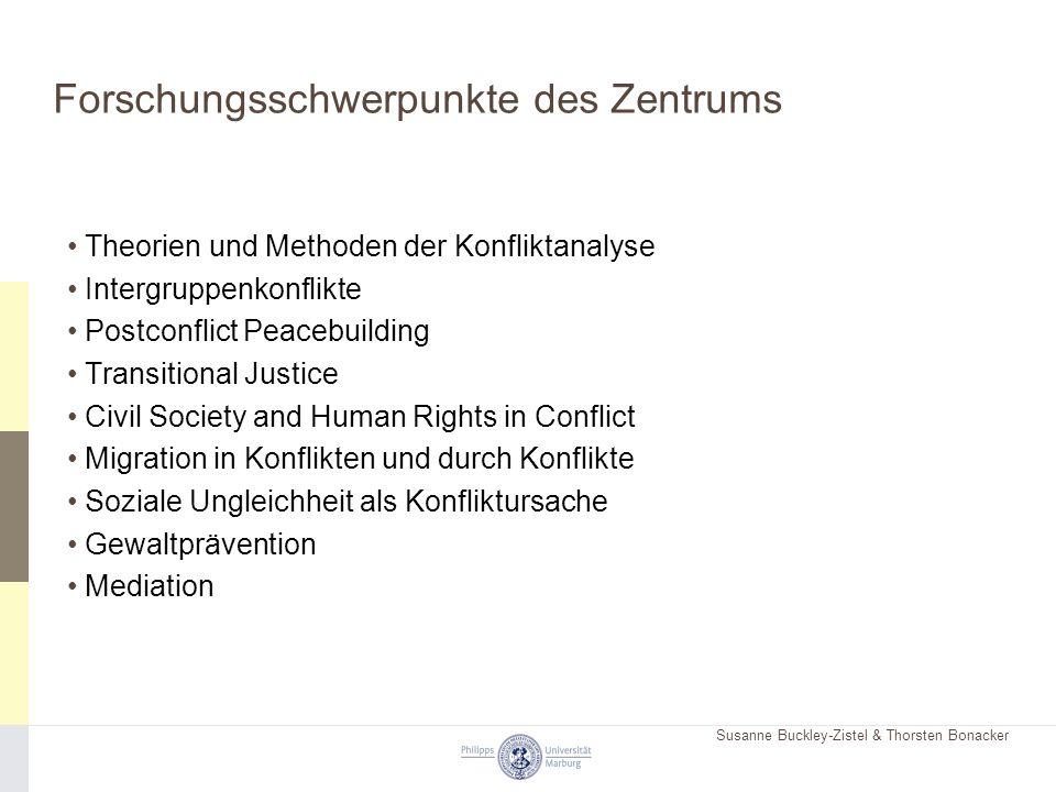 Susanne Buckley-Zistel & Thorsten Bonacker Forschungsschwerpunkte des Zentrums Theorien und Methoden der Konfliktanalyse Intergruppenkonflikte Postcon