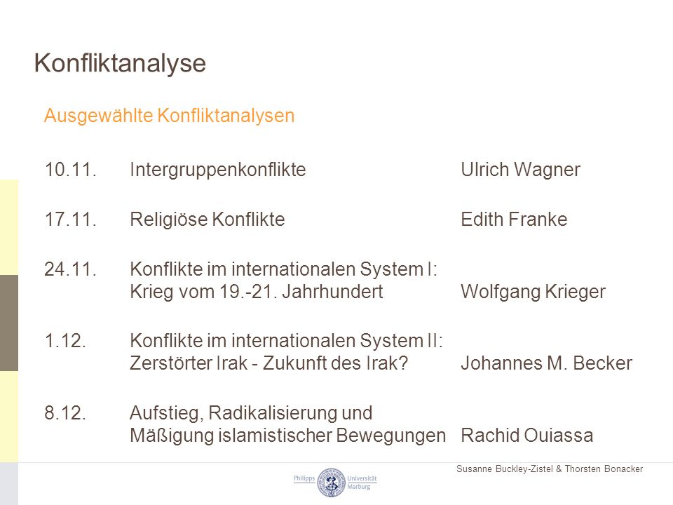 Susanne Buckley-Zistel & Thorsten Bonacker Konfliktanalyse Ausgewählte Konfliktanalysen 10.11.Intergruppenkonflikte Ulrich Wagner 17.11.Religiöse Konf