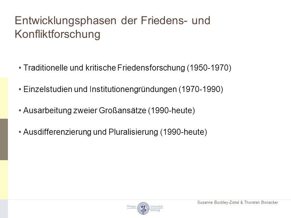 Susanne Buckley-Zistel & Thorsten Bonacker Entwicklungsphasen der Friedens- und Konfliktforschung Traditionelle und kritische Friedensforschung (1950-1970) Einzelstudien und Institutionengründungen (1970-1990) Ausarbeitung zweier Großansätze (1990-heute) Ausdifferenzierung und Pluralisierung (1990-heute)