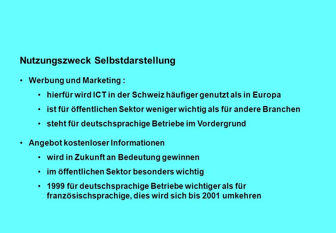 Nutzungszweck Selbstdarstellung Werbung und Marketing : hierfür wird ICT in der Schweiz häufiger genutzt als in Europa ist für öffentlichen Sektor weniger wichtig als für andere Branchen steht für deutschsprachige Betriebe im Vordergrund Angebot kostenloser Informationen wird in Zukunft an Bedeutung gewinnen im öffentlichen Sektor besonders wichtig 1999 für deutschsprachige Betriebe wichtiger als für französischsprachige, dies wird sich bis 2001 umkehren