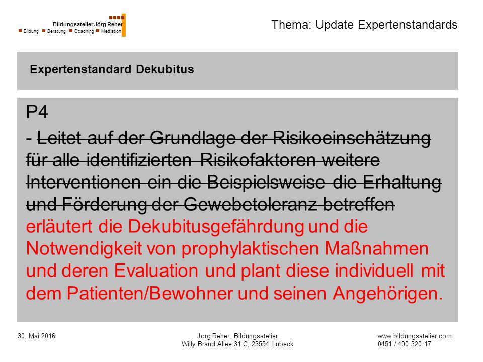 30. Mai 2016Jörg Reher, Bildungsatelier Willy Brand Allee 31 C, 23554 Lübeck Thema: Update Expertenstandards P4 - Leitet auf der Grundlage der Risikoe