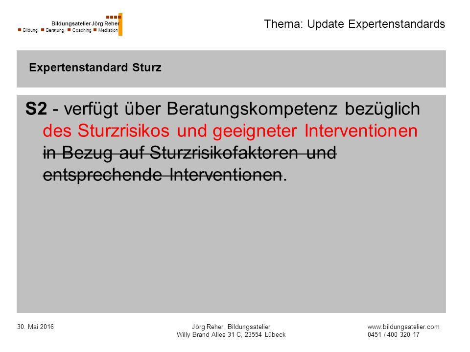 30. Mai 2016Jörg Reher, Bildungsatelier Willy Brand Allee 31 C, 23554 Lübeck Thema: Update Expertenstandards S2 - verfügt über Beratungskompetenz bezü