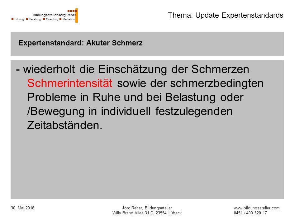 30. Mai 2016Jörg Reher, Bildungsatelier Willy Brand Allee 31 C, 23554 Lübeck Thema: Update Expertenstandards - wiederholt die Einschätzung der Schmerz