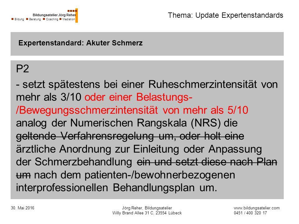 30. Mai 2016Jörg Reher, Bildungsatelier Willy Brand Allee 31 C, 23554 Lübeck Thema: Update Expertenstandards P2 - setzt spätestens bei einer Ruheschme