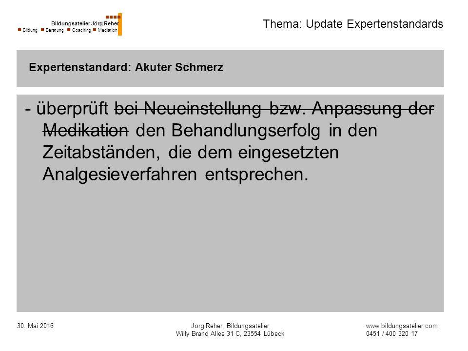 30. Mai 2016Jörg Reher, Bildungsatelier Willy Brand Allee 31 C, 23554 Lübeck Thema: Update Expertenstandards - überprüft bei Neueinstellung bzw. Anpas