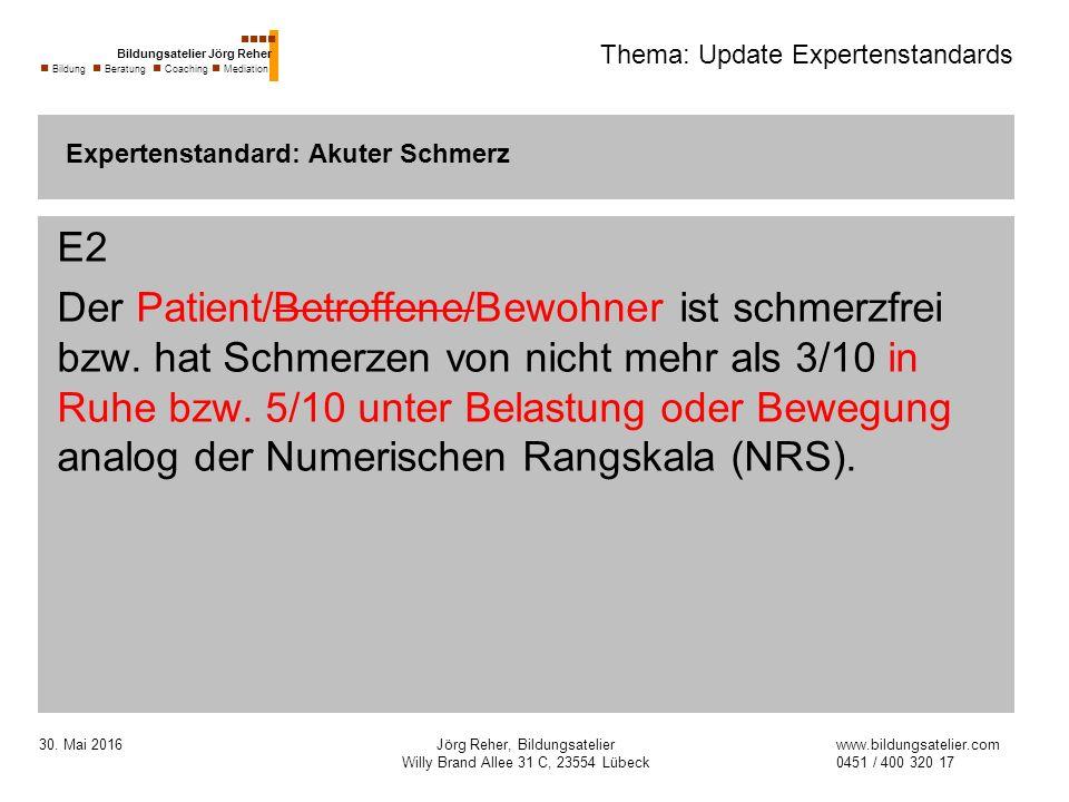 30. Mai 2016Jörg Reher, Bildungsatelier Willy Brand Allee 31 C, 23554 Lübeck Thema: Update Expertenstandards E2 Der Patient/Betroffene/Bewohner ist sc