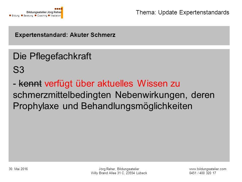 30. Mai 2016Jörg Reher, Bildungsatelier Willy Brand Allee 31 C, 23554 Lübeck Thema: Update Expertenstandards Die Pflegefachkraft S3 - kennt verfügt üb