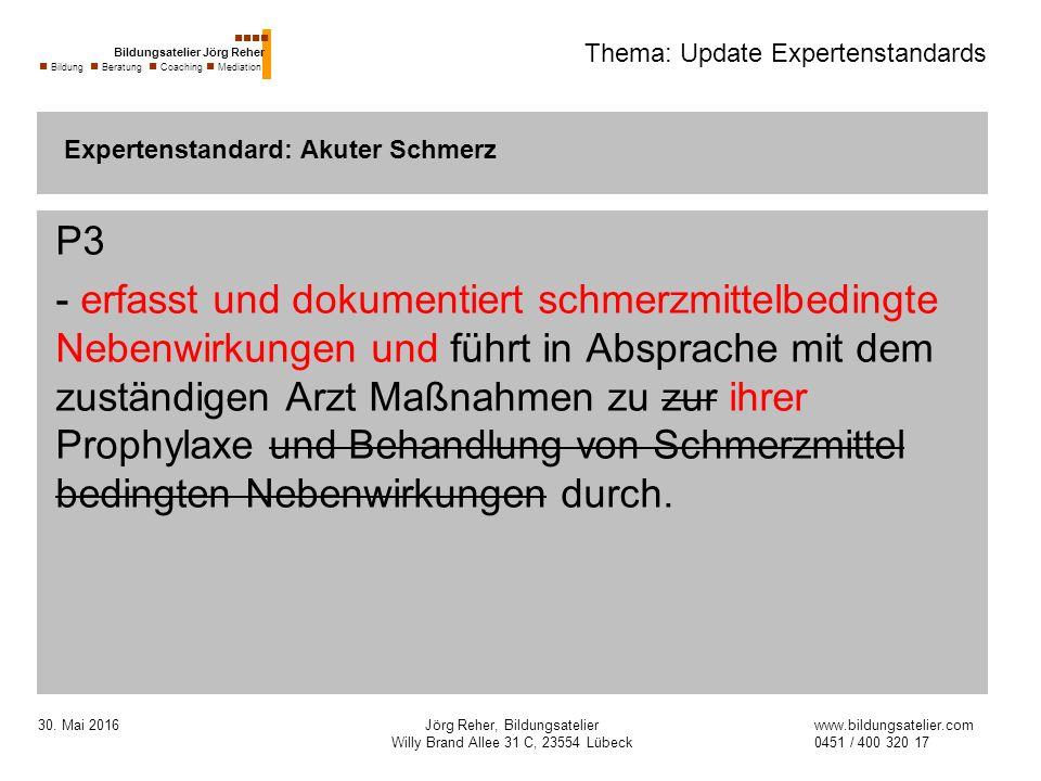30. Mai 2016Jörg Reher, Bildungsatelier Willy Brand Allee 31 C, 23554 Lübeck Thema: Update Expertenstandards P3 - erfasst und dokumentiert schmerzmitt