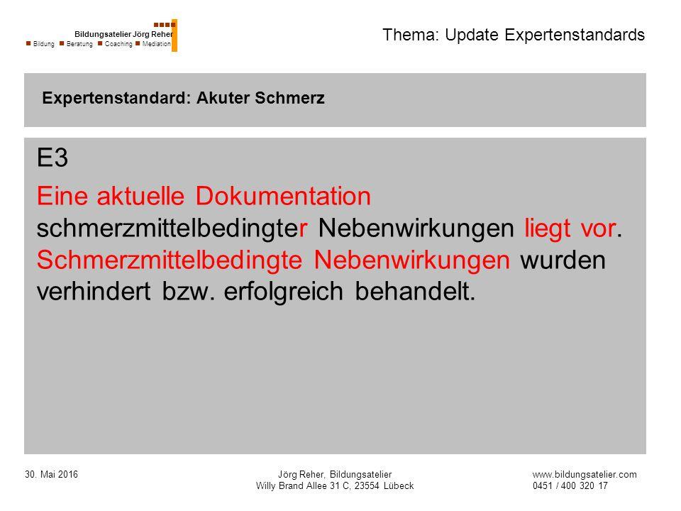 30. Mai 2016Jörg Reher, Bildungsatelier Willy Brand Allee 31 C, 23554 Lübeck Thema: Update Expertenstandards E3 Eine aktuelle Dokumentation schmerzmit