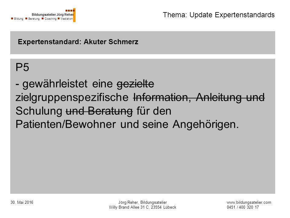 30. Mai 2016Jörg Reher, Bildungsatelier Willy Brand Allee 31 C, 23554 Lübeck Thema: Update Expertenstandards P5 - gewährleistet eine gezielte zielgrup