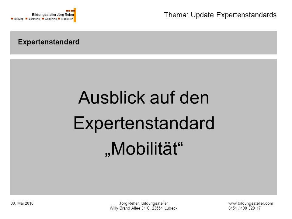 """30. Mai 2016Jörg Reher, Bildungsatelier Willy Brand Allee 31 C, 23554 Lübeck Thema: Update Expertenstandards Ausblick auf den Expertenstandard """"Mobili"""