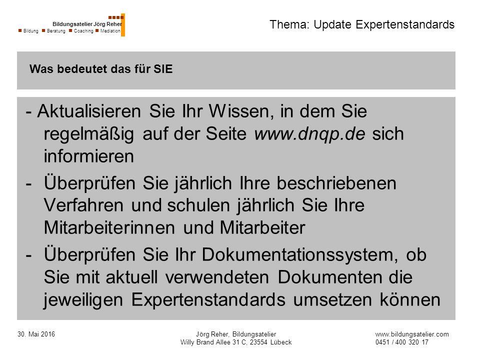 30. Mai 2016Jörg Reher, Bildungsatelier Willy Brand Allee 31 C, 23554 Lübeck Thema: Update Expertenstandards - Aktualisieren Sie Ihr Wissen, in dem Si
