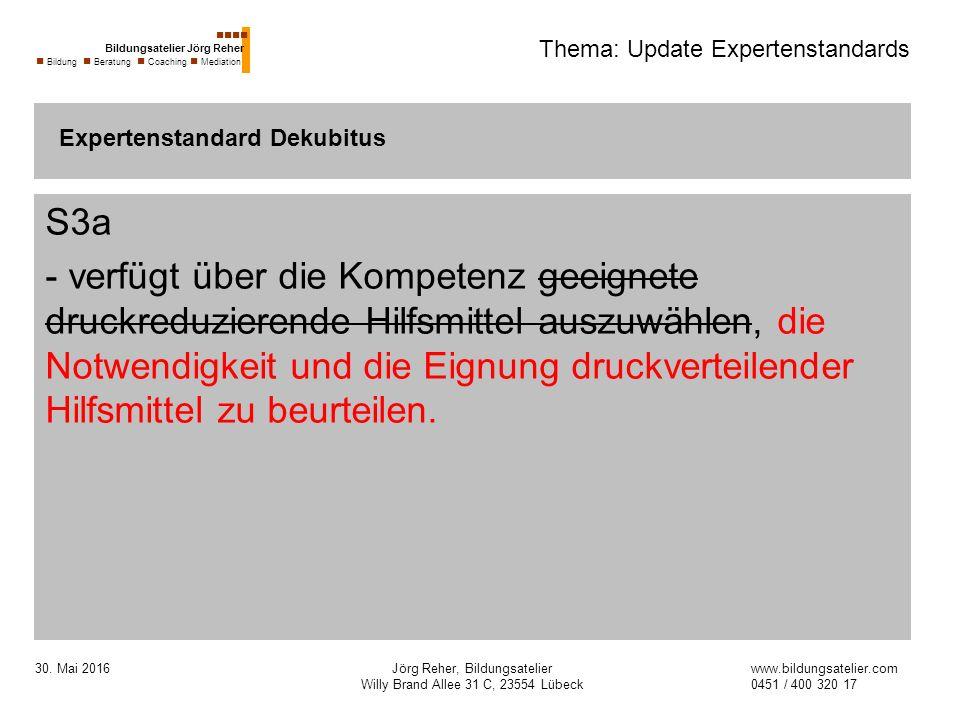 30. Mai 2016Jörg Reher, Bildungsatelier Willy Brand Allee 31 C, 23554 Lübeck Thema: Update Expertenstandards S3a - verfügt über die Kompetenz geeignet
