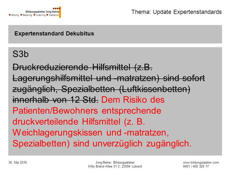 30. Mai 2016Jörg Reher, Bildungsatelier Willy Brand Allee 31 C, 23554 Lübeck Thema: Update Expertenstandards S3b Druckreduzierende Hilfsmittel (z.B. L