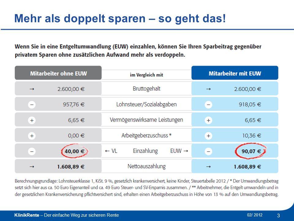 KlinikRente – Der einfache Weg zur sicheren Rente 4 02/ 2012 ______________________________________________ Mehr als doppelt sparen – so geht das!