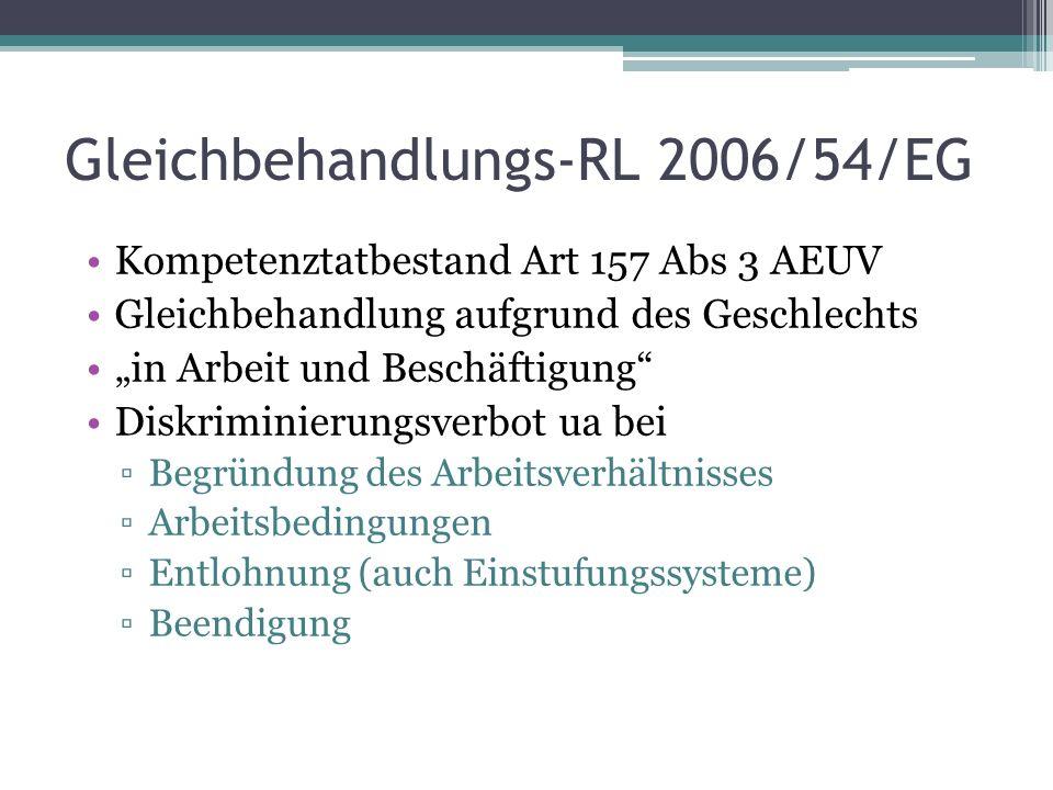 """Gleichbehandlungs-RL 2006/54/EG Kompetenztatbestand Art 157 Abs 3 AEUV Gleichbehandlung aufgrund des Geschlechts """"in Arbeit und Beschäftigung Diskriminierungsverbot ua bei ▫Begründung des Arbeitsverhältnisses ▫Arbeitsbedingungen ▫Entlohnung (auch Einstufungssysteme) ▫Beendigung"""