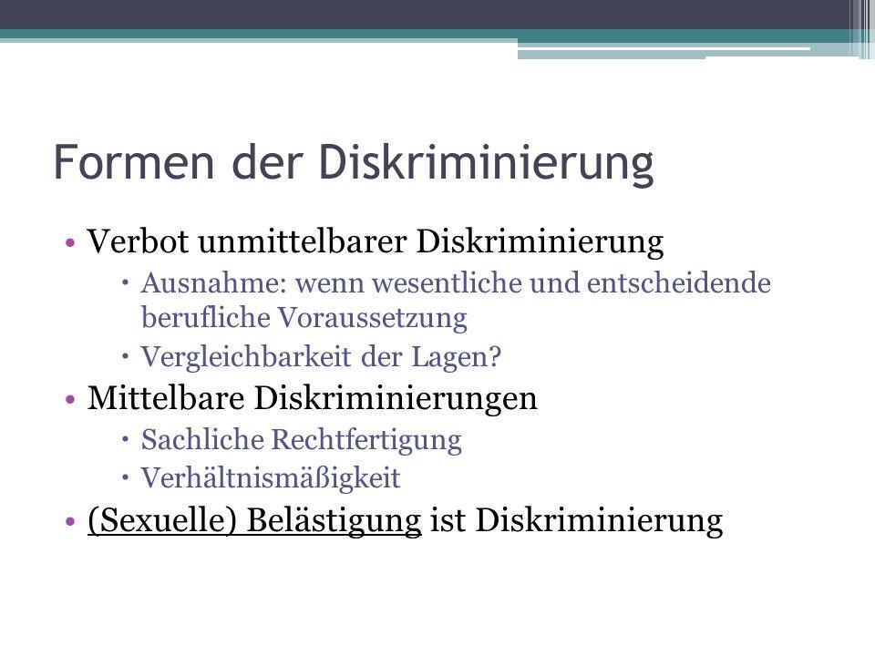 Formen der Diskriminierung Verbot unmittelbarer Diskriminierung  Ausnahme: wenn wesentliche und entscheidende berufliche Voraussetzung  Vergleichbarkeit der Lagen.