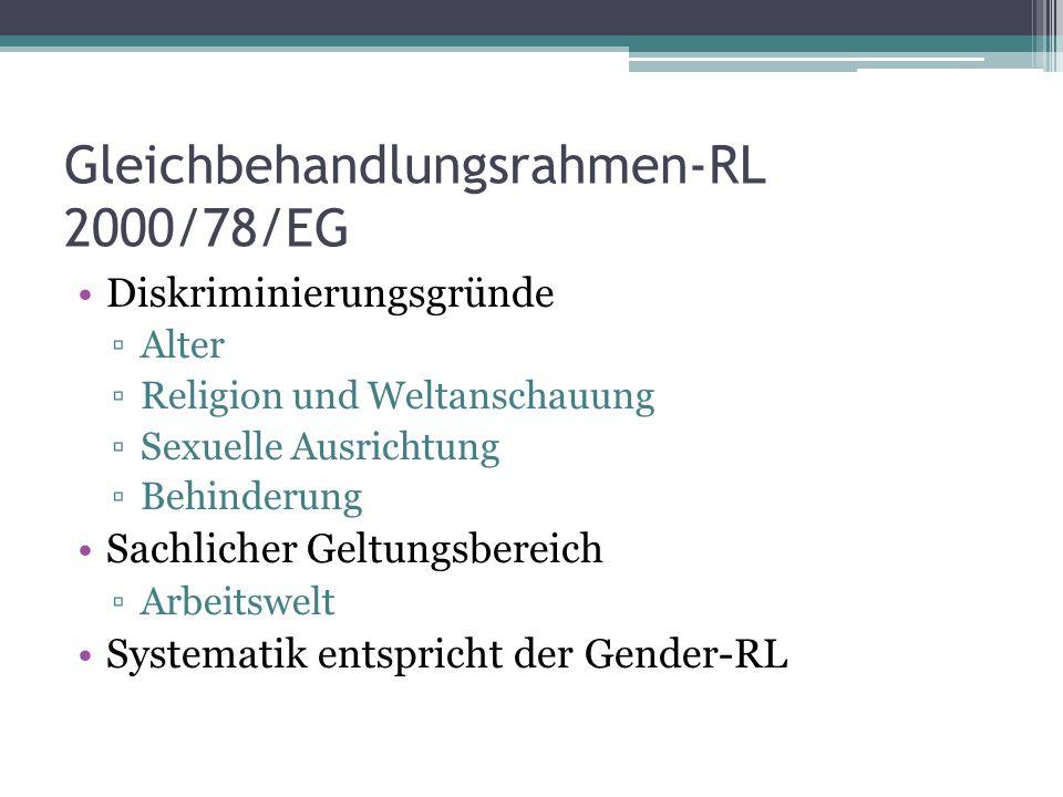 Gleichbehandlungsrahmen-RL 2000/78/EG Diskriminierungsgründe ▫Alter ▫Religion und Weltanschauung ▫Sexuelle Ausrichtung ▫Behinderung Sachlicher Geltungsbereich ▫Arbeitswelt Systematik entspricht der Gender-RL