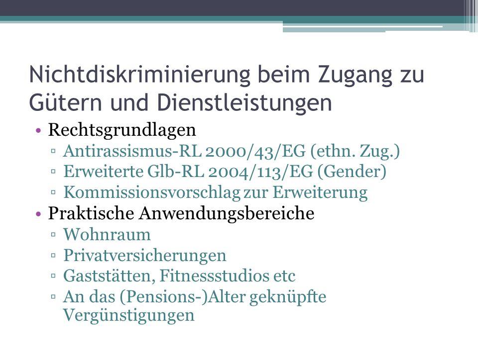 Nichtdiskriminierung beim Zugang zu Gütern und Dienstleistungen Rechtsgrundlagen ▫Antirassismus-RL 2000/43/EG (ethn.