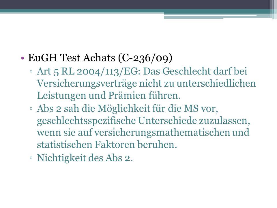 EuGH Test Achats (C-236/09) ▫Art 5 RL 2004/113/EG: Das Geschlecht darf bei Versicherungsverträge nicht zu unterschiedlichen Leistungen und Prämien führen.
