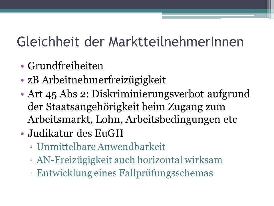 Gleichheit der MarktteilnehmerInnen Grundfreiheiten zB Arbeitnehmerfreizügigkeit Art 45 Abs 2: Diskriminierungsverbot aufgrund der Staatsangehörigkeit beim Zugang zum Arbeitsmarkt, Lohn, Arbeitsbedingungen etc Judikatur des EuGH ▫Unmittelbare Anwendbarkeit ▫AN-Freizügigkeit auch horizontal wirksam ▫Entwicklung eines Fallprüfungsschemas
