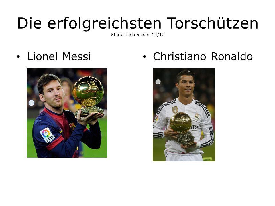 Die erfolgreichsten Torschützen Stand nach Saison 14/15 Lionel Messi Christiano Ronaldo