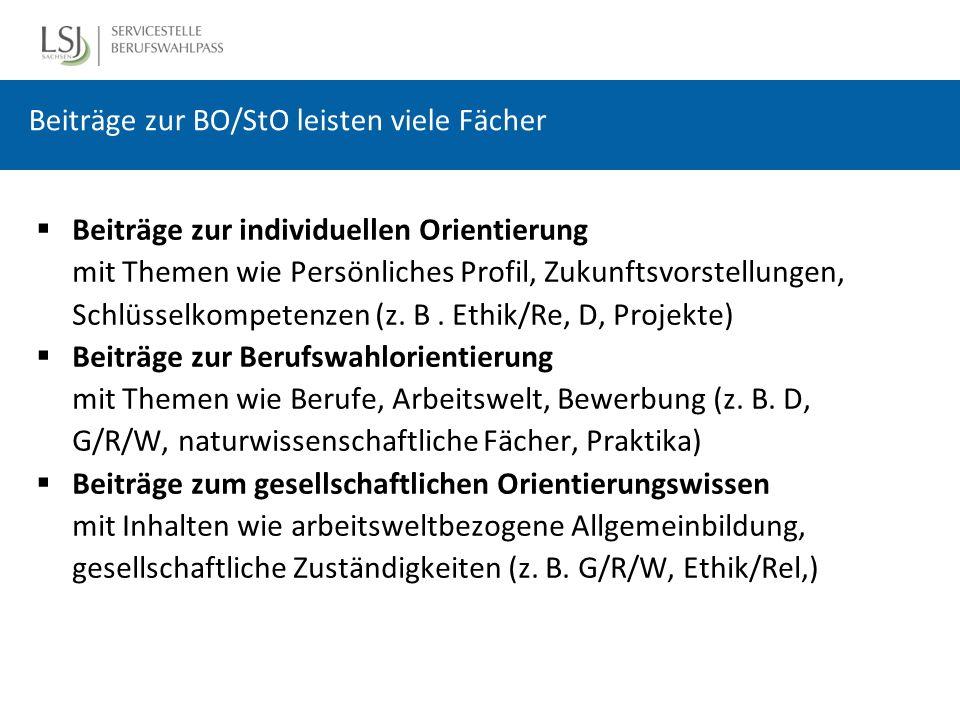 Beiträge zur BO/StO leisten viele Fächer  Beiträge zur individuellen Orientierung mit Themen wie Persönliches Profil, Zukunftsvorstellungen, Schlüsselkompetenzen (z.