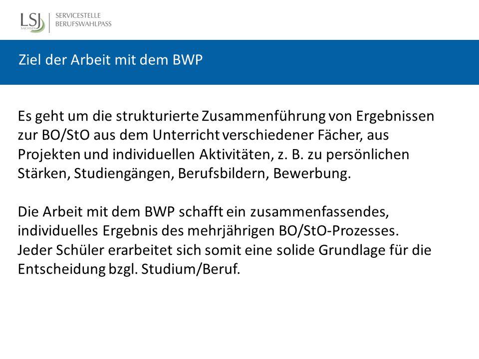 Ziel der Arbeit mit dem BWP Es geht um die strukturierte Zusammenführung von Ergebnissen zur BO/StO aus dem Unterricht verschiedener Fächer, aus Projekten und individuellen Aktivitäten, z.