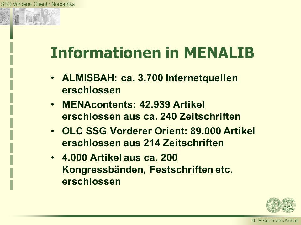 SSG Vorderer Orient / Nordafrika ULB Sachsen-Anhalt Informationen in MENALIB ALMISBAH: ca. 3.700 Internetquellen erschlossen MENAcontents: 42.939 Arti