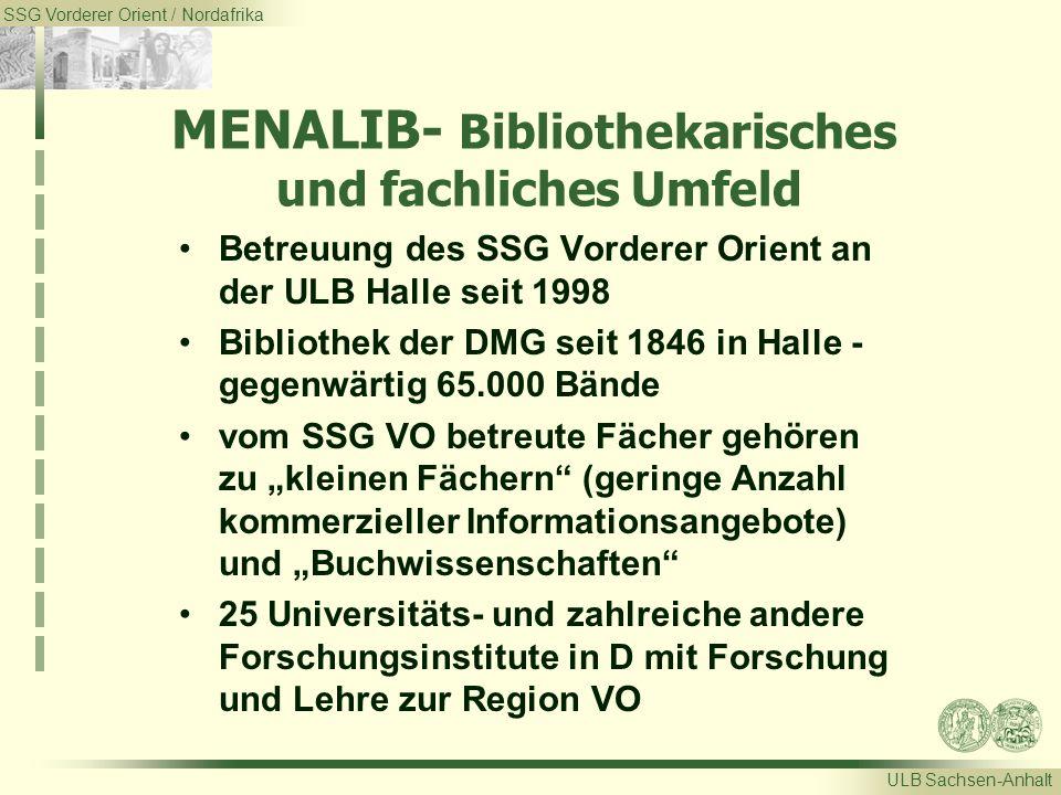 SSG Vorderer Orient / Nordafrika ULB Sachsen-Anhalt MENALIB- Bibliothekarisches und fachliches Umfeld Betreuung des SSG Vorderer Orient an der ULB Hal