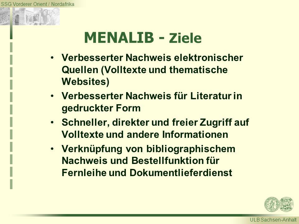 SSG Vorderer Orient / Nordafrika ULB Sachsen-Anhalt MENALIB - Ziele Verbesserter Nachweis elektronischer Quellen (Volltexte und thematische Websites)