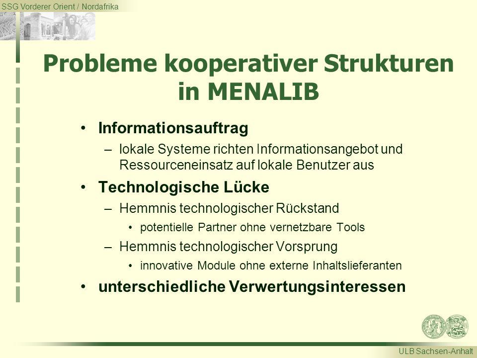 SSG Vorderer Orient / Nordafrika ULB Sachsen-Anhalt Probleme kooperativer Strukturen in MENALIB Informationsauftrag –lokale Systeme richten Informatio