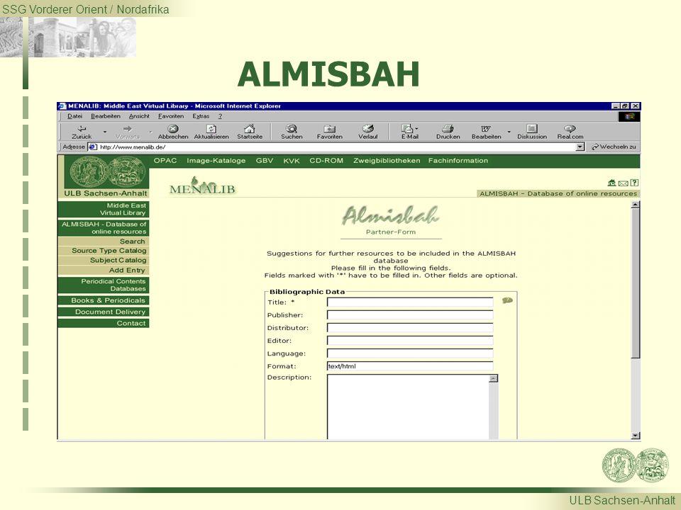 SSG Vorderer Orient / Nordafrika ULB Sachsen-Anhalt ALMISBAH