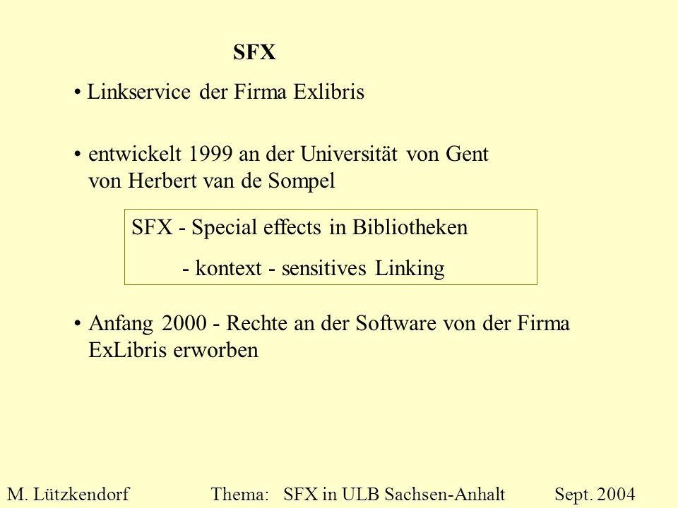 M. LützkendorfThema: SFX in ULB Sachsen-Anhalt Sept. 2004