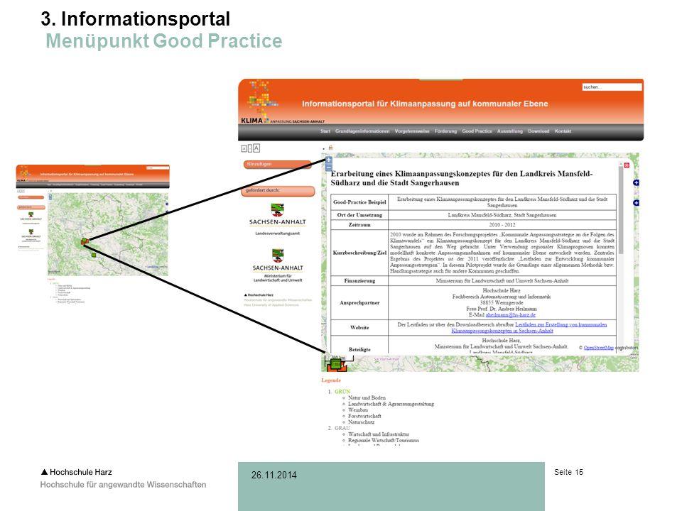 Seite 15 26.11.2014 3. Informationsportal Menüpunkt Good Practice