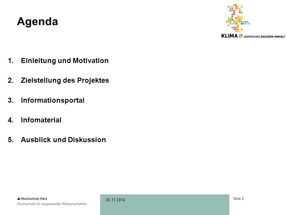 Seite 2 26.11.2014 Agenda 1.Einleitung und Motivation 2.Zielstellung des Projektes 3.Informationsportal 4.Infomaterial 5.Ausblick und Diskussion