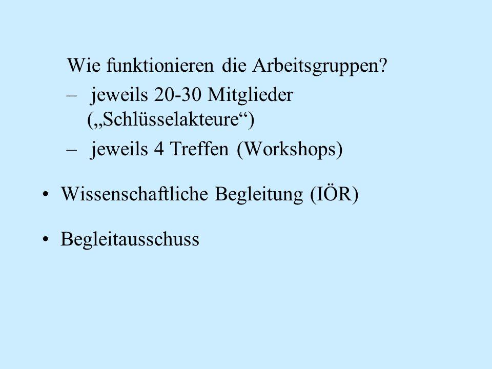 """Wie funktionieren die Arbeitsgruppen? –jeweils 20-30 Mitglieder (""""Schlüsselakteure"""") –jeweils 4 Treffen (Workshops) Wissenschaftliche Begleitung (IÖR)"""
